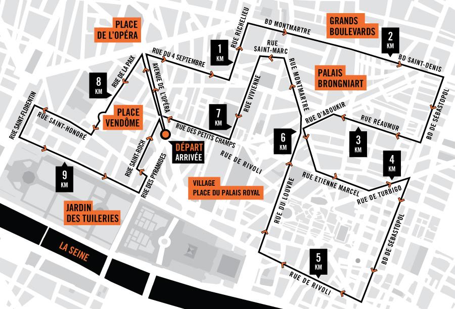 10Km Paris centre Nike 2015 - parcours