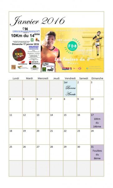calendrier Paris Running Tour 2016 - Janvier