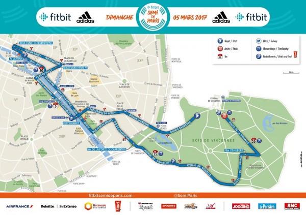 semi marathon de paris - parcours - 2018