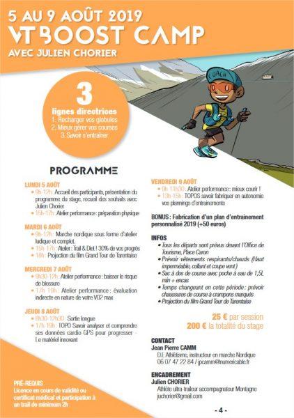 programme vt boost camp stage de trail